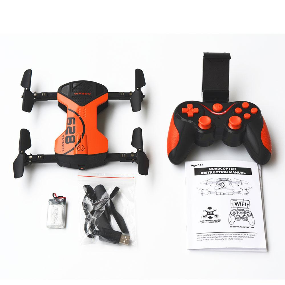 2017 Foldable 628 Mini Drone With Camera HD 720P Selfie Drone 4 Axis Wifi Video RC Drone Quadcopter Helicopter Aircraft FPV