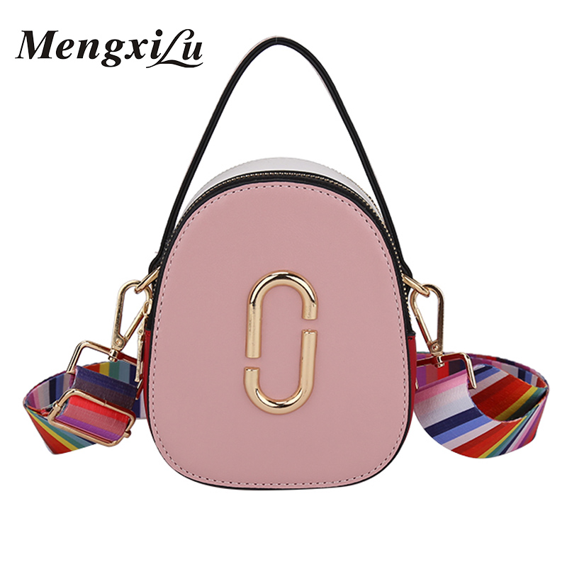 Women Bag PU Leather Small Round Fashion Shoulder Bags Ladies Crossbody Messenger Bag Female Handbags Colorful Shoulder Straps
