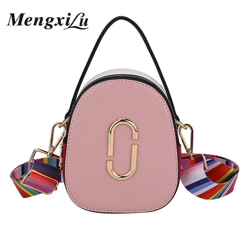 Women Bag PU Leather Small Round Fashion Shoulder Bags Ladies Crossbody Messenger Bag Female Handbags Colorful Shoulder Straps