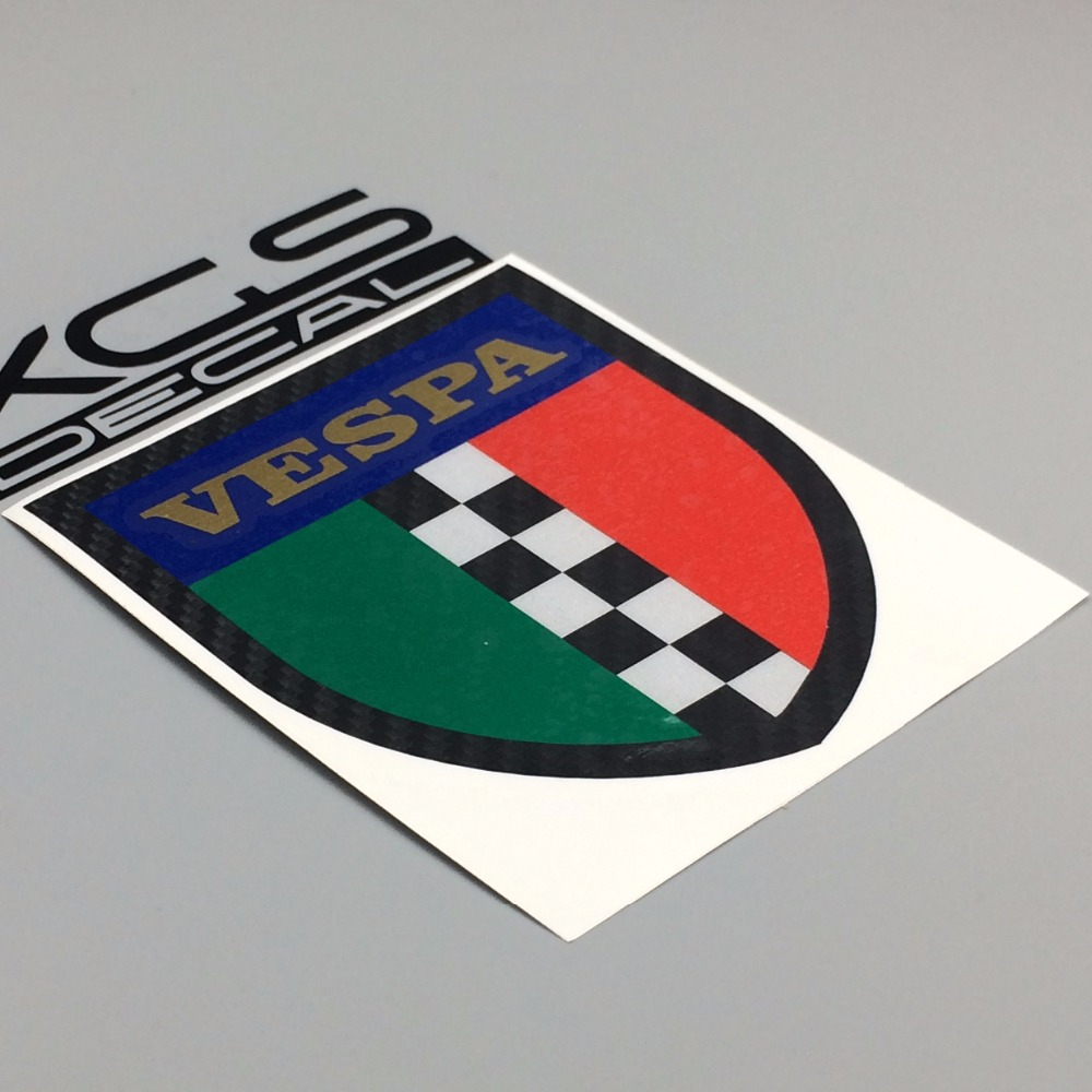 XGS DECAL sticker vinyl die cut decal Vespa shield Italy reflective waterproof decals approx 10cm x 8.5cm