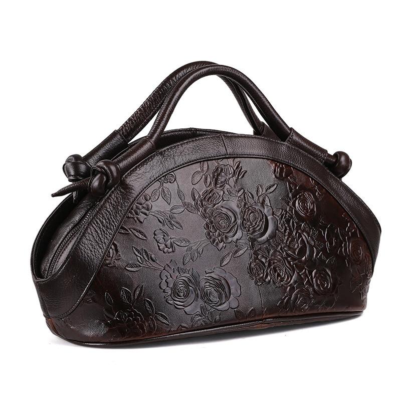 新到着オイルワックス革の女性のハンドバッグファッションエンボス加工クロスボディバッグ女性のハンドバッグの動向バッグ Bolsas  グループ上の スーツケース & バッグ からの トップハンドルバッグ の中 2