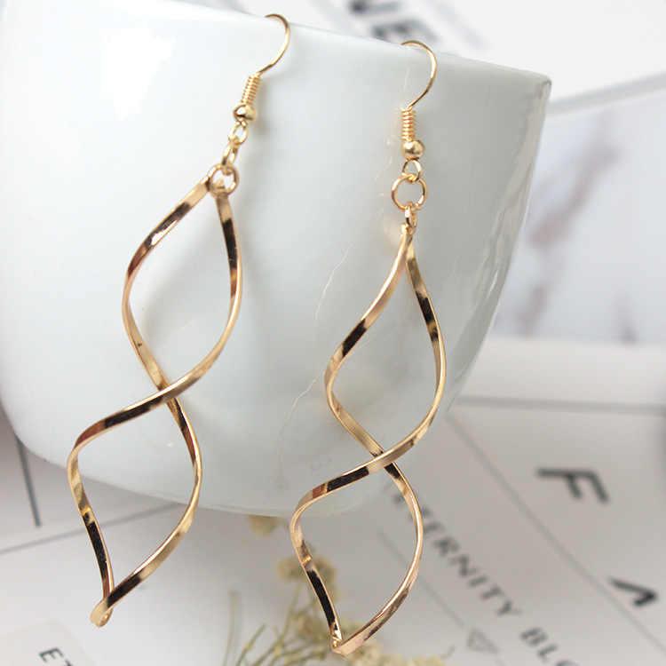 أعلى جودة بسيطة دوامة خط الأذن ارتفع الذهب اللون موضة أقراط مجوهرات قطرة الشحن