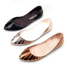 Золото Серебро Размер США 5-9 Комфорт Кожа Скольжения На Мода Повседневная Плиссе Балетки Обувь