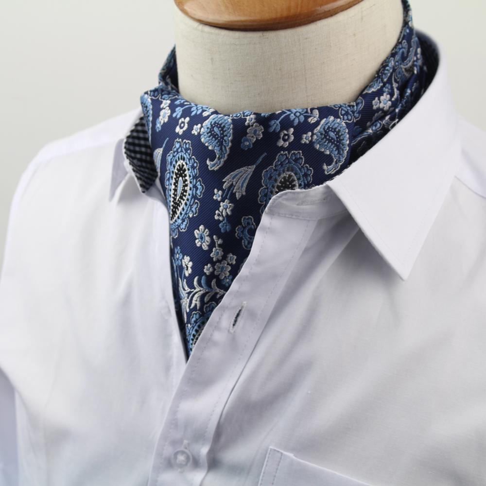 Men's Vintage Necktie Formal Cravat Ascot Scrunch Self British Polka Dot Gentleman Polyester Silk Neck Tie Luxury