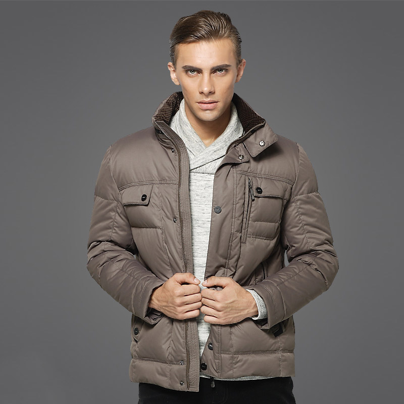 DZYS Men's Duck   Down   Jacket Thick Warm   Down     Coat   stand collar for Men Male 2629