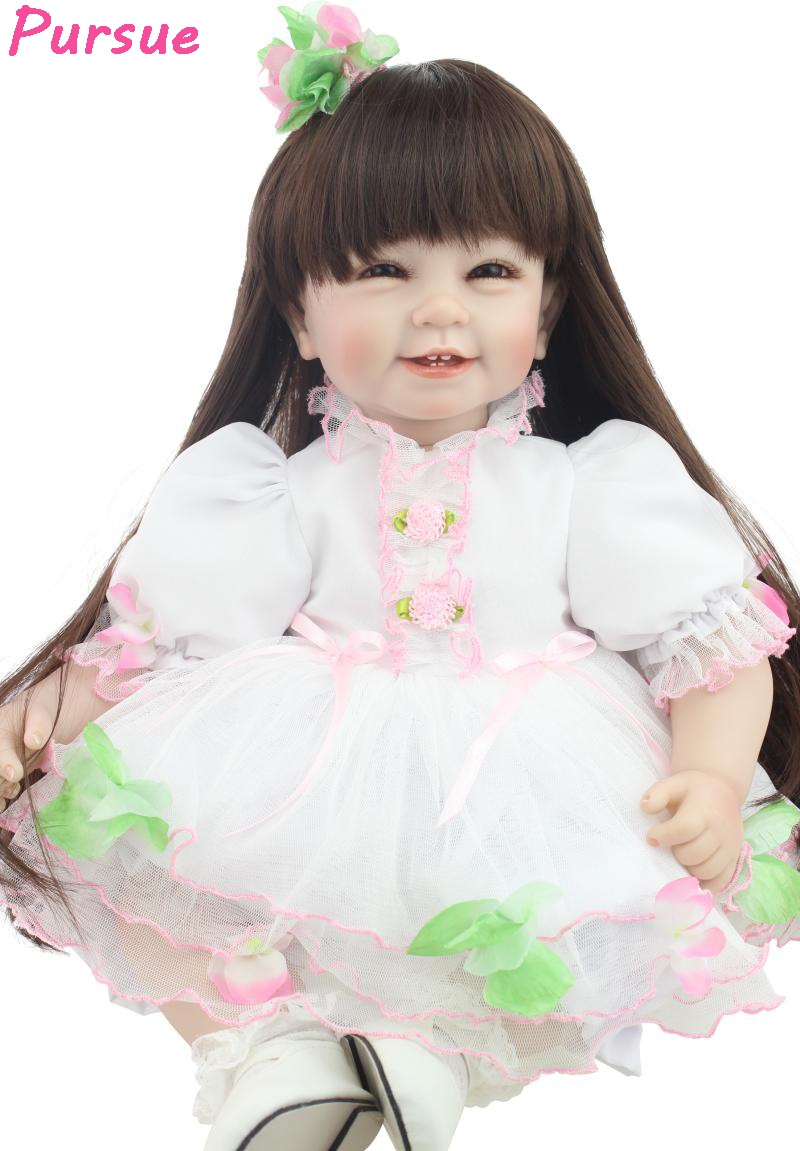 Pursue 55cm Long Hair Cute Doll Reborn Silicone Reborn Dolls BJD American Girl Doll Toys for Girls bebe reborn menina boneca 22 inches sweet girl dolls brown hair 55cm doll reborn baby lovely toys cute birthday gift for girls as american girl