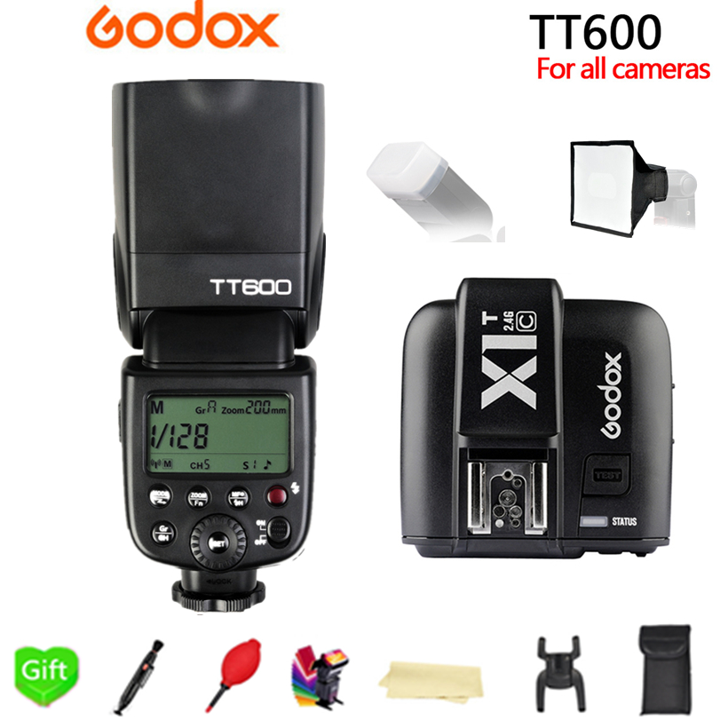 Godox TT600 TT600S 2.4G Wireless 1/8000s Speedlite Flash + X1T-C/N/S/O/F 2.4G Wireless TTL Trigger for Canon Nikon Sony Camera godox v860iic v860iin v860iis x1t c x1t n x1t s hss 1 8000s gn60 ttl flash speedlite 2 4g transmission godox softbox filter