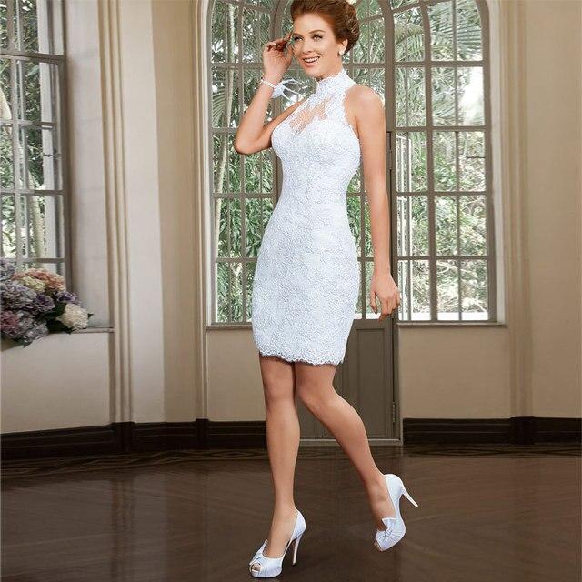 Nueva Sexy Summer estilo corto vestido de boda cuello alto tanque ...