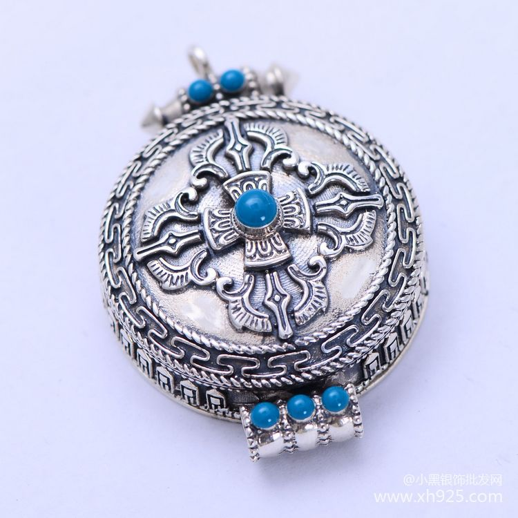 где купить KJJEAXCMY boutique jewelry S925 Pure silver jewelry buddhist classic inlay synthetic turquoise garou box female style pendant по лучшей цене
