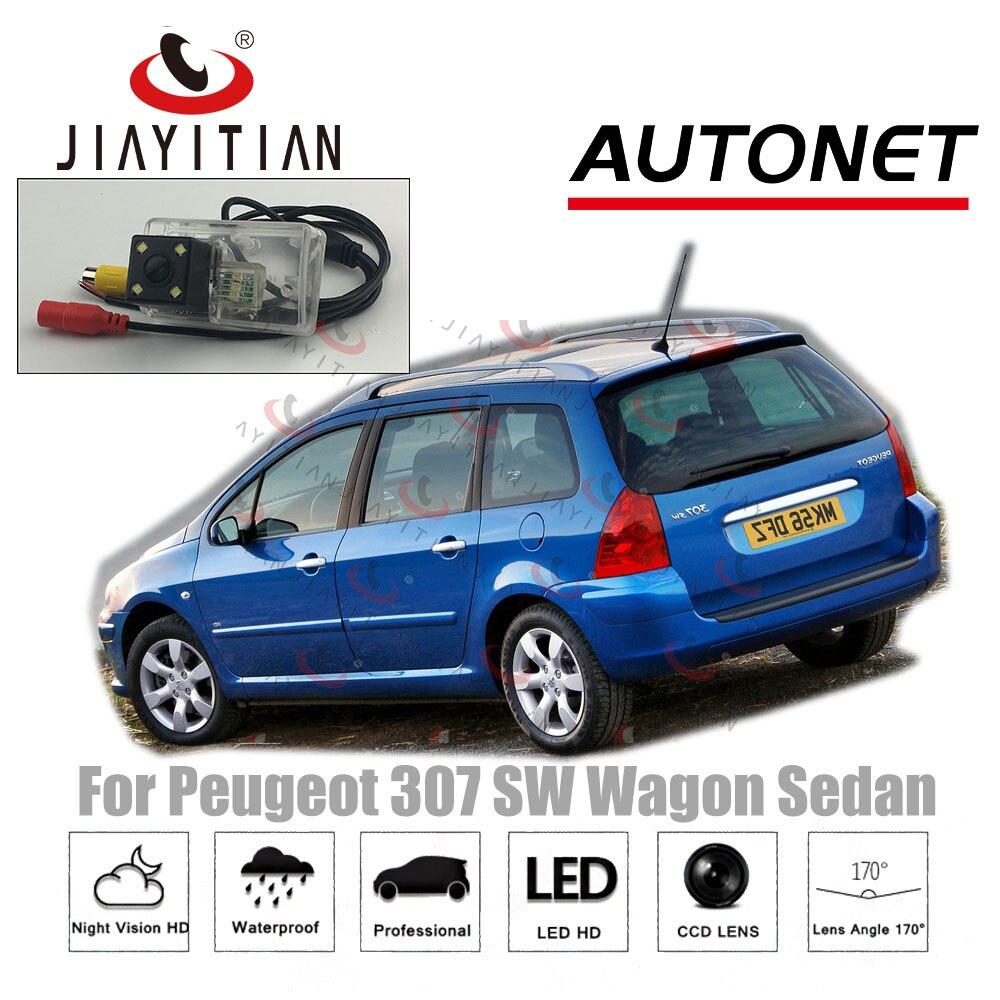 Otomobiller ve Motosikletler'ten Araç Kamerası'de JIAYTTIAN dikiz kamera için Peugeot 307 SW vagon Sedan CCD gece görüş geri görüş kamerası plaka kamera ters kamera title=