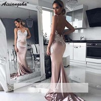 Backless 2018 Prom Dresses Mermaid Spaghetti Straps Appliques Lace Party Maxys Long Graduation Dress Evening Dresses Soiree Rob