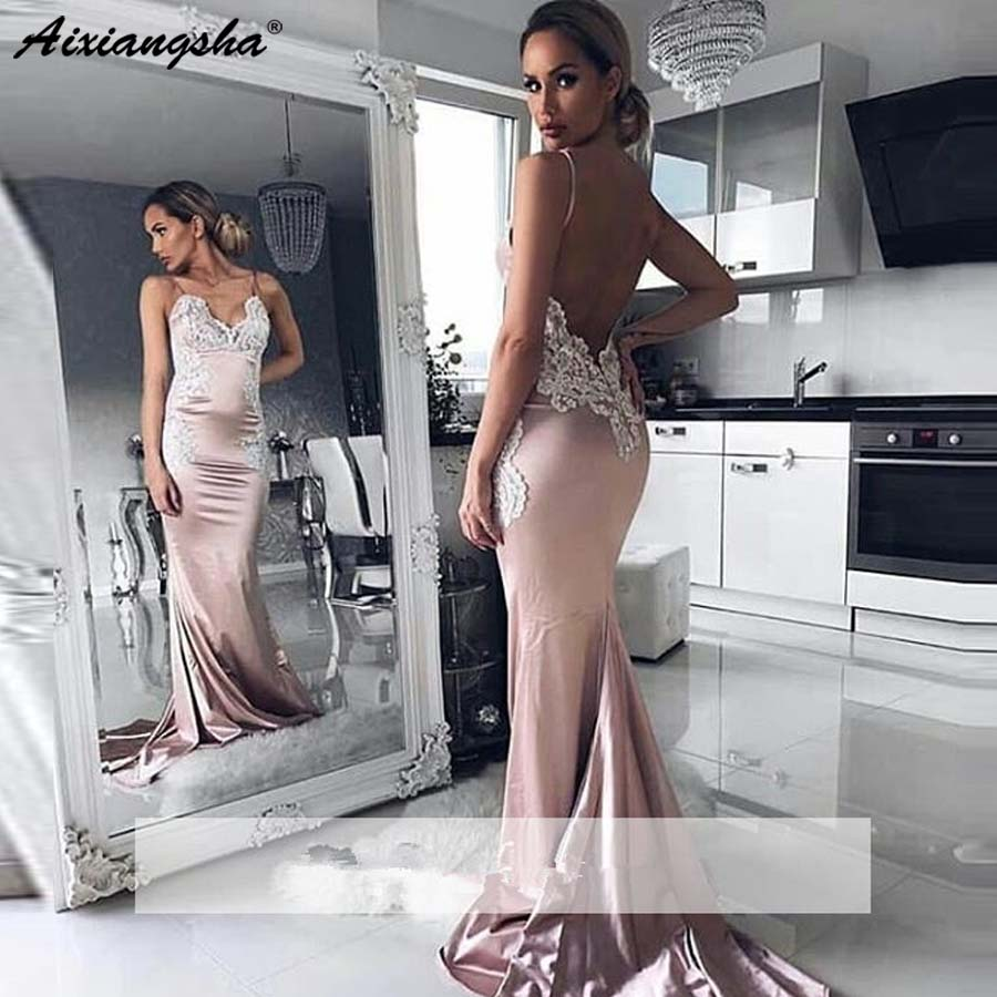 Dos nu 2018 robes de bal sirène Spaghetti bretelles Appliques dentelle fête Maxys longue remise des diplômes robe de soirée robes de soirée Rob