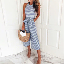 702029ae2dd Dreamlikelin Women Summer O-neck Bowknot Pants Playsuit Sashes Pockets  Sleeveless Rompers Casual Office Lady Striped Jumpsuits