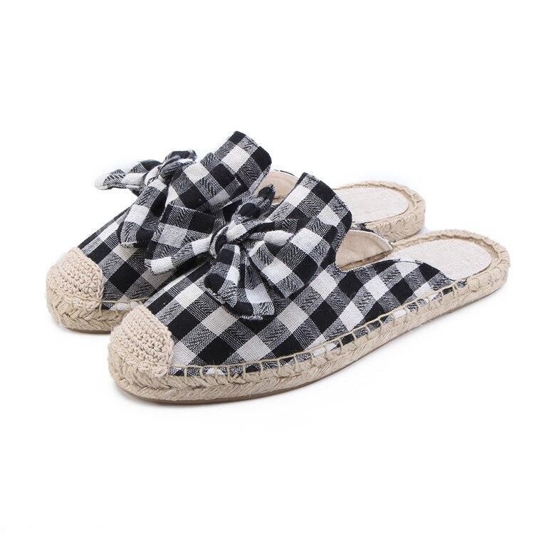 women espadrilles mule, plaid summer flat slipper