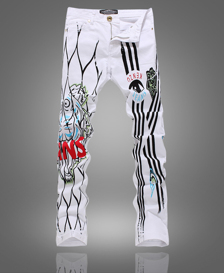 New classic stripe painted trousers men white slim denim jeans