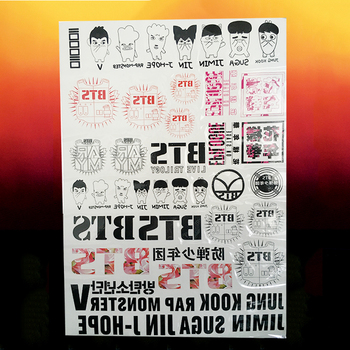 KPOP BTS Bangtan Boys Jimin Jin Jhope Jung kook V Suga Rap monster Tattoo paste waterproof Sticker Decals NOTE PAPER 1sheet/buy bts v warriors jacket