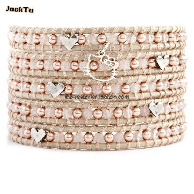 women rose quartz mixed pearl heart love kitty cat pendant leather wrap bracelet