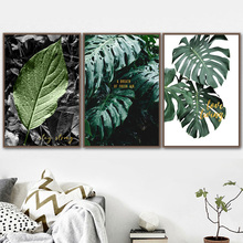 Wall Art Canvas Painting Green Monstera Tropical Plant Leaves Nordic Posters And Prints Pictures For Living Room Home Decor
