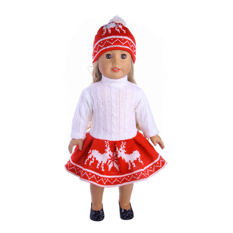 High-quality hand-knit wool skirt fit for 18 inch American  doll, Children the best Christmas gift