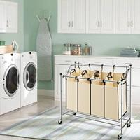 Laundry Sorter Heavy Duty Rolling Divided Laundry Hamper Cart with 3/4 Removable Bags Clothing Organizer Basket