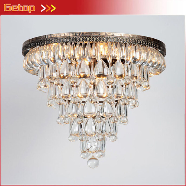 Zx Modern Luxury Waterdrop Crystal Circular Ceiling Lamp American Retro Chain Led Light Fixture For
