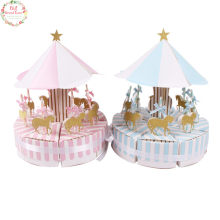Free Shipping 8pcs Carousel Gift Box Wedding Favors Party Baby Shower Souvenirs Candy Box Birthday Party Decorations Kids(China)