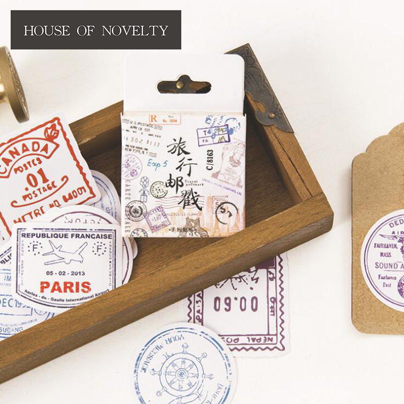 Travel Stamp Postmark Decorative Stickers Adhesive Stickers DIY Decoration Diary Stickers Box Package
