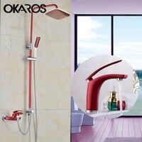 OKAROS Red Wine Basin Faucet Water Tap Plus Bathroom Shower Faucet Bath Shower Taps Shower Head