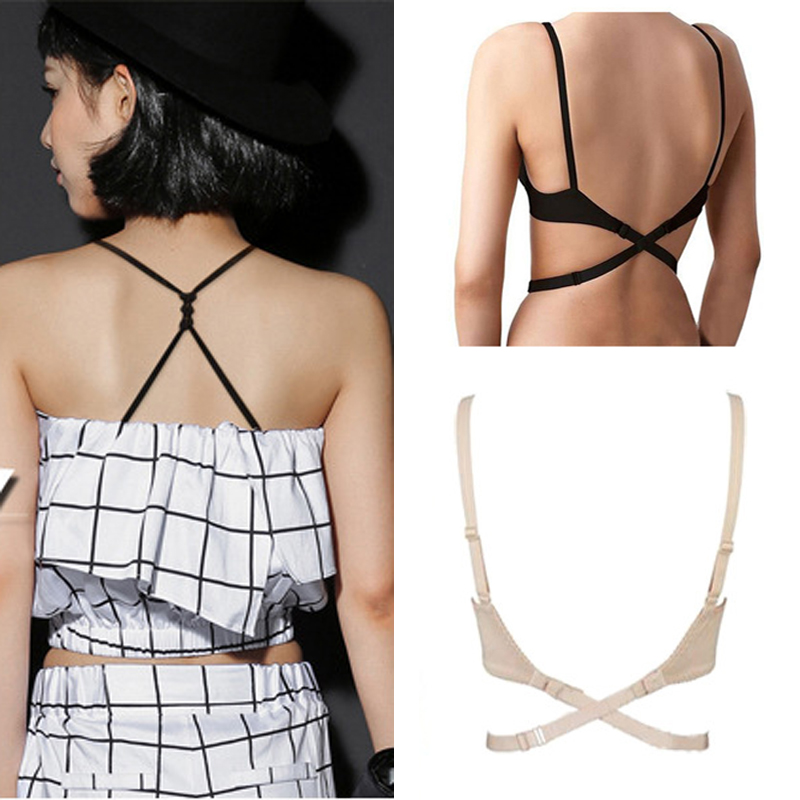 ce64e8484d 3PCS Bra Extenders Straps Belt For Backless Dresses Cross Low Back Bra  Straps Elastic Adjustable Bra Extension Shoulder Straps