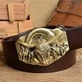 Cinto de Cowboy Touro De Bronze Fivela Mens Cintos de Luxo Genuínos Homens De Couro Cinto Vintage Cinta Ceinture Homme Cinturones Masculinos MBT0389