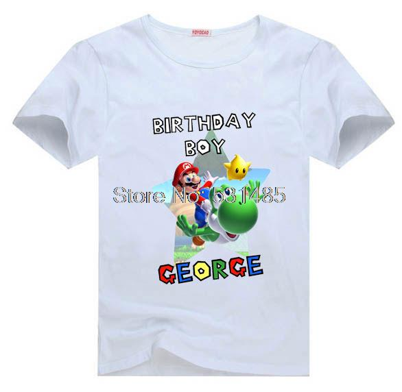 T Shirt Super Mario Brothers Birthday Boy Personalized Party For Kids Children Girl Cartoon