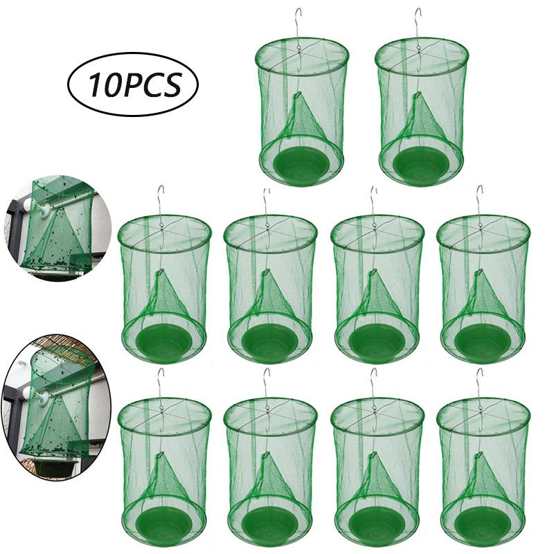10PCS Pest Control Reusable Hanging Fly Catcher Killer Flies Flytrap Cage Net Trap Garden Home Yard Supplies