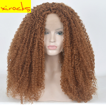 hot deal buy  xi.rocks 24 inch long full front lace wig for black women dark brown afro kinky curly hair weave wig synthetic wigs for women