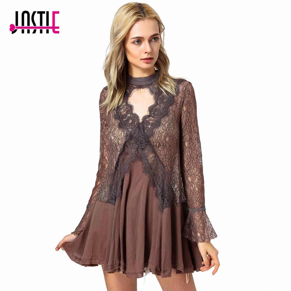 Jastie Floral Lace Dress Hollow Keyhole Cutouts Back Sheer Mini Dresses Bell Sleeve Irregular Hem Boho People Women Dresses 8208 аксессуар panasonic сетка для бритв wes9089y1361