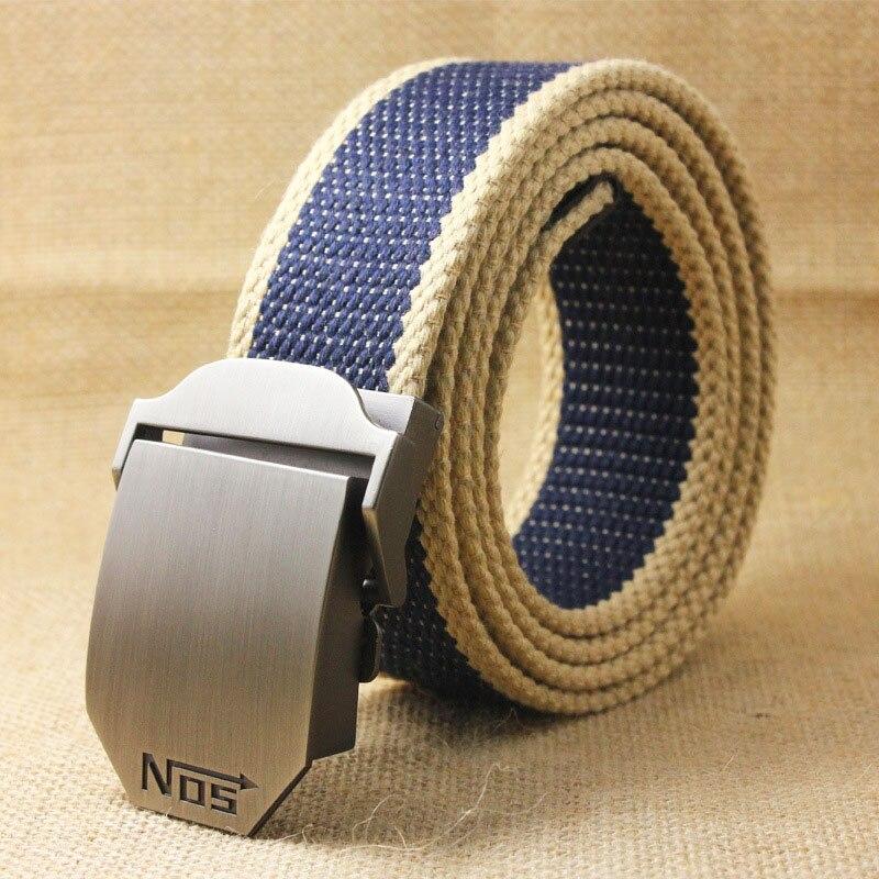 Лучший YBT унисекс тактический ремень, высокое качество, 4 мм, толщина 3,8 см, широкий, Повседневный, Холщовый ремень, для улицы, сплав, автоматическая пряжка, мужской ремень - Цвет: J Navy blue stripe