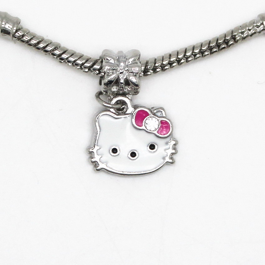 Silver Plated High Quality Hello Kitty Bead DIY Big Hole European Beads Fits Silver Charm Pandora Bracelets Necklaces Pendants