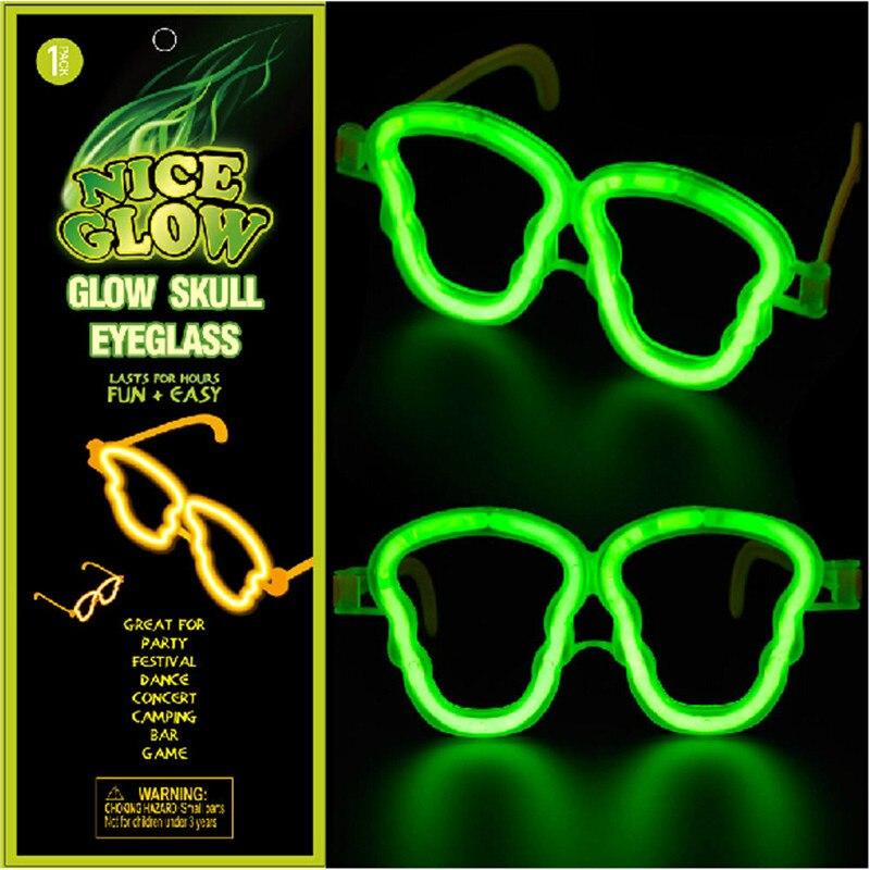 ჱ20 unids/lote luminoso plástico marco forma del cráneo luz gafas ...