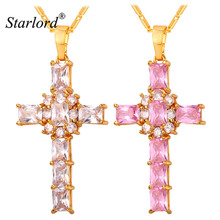 Starlord Crystal Cross Pendant Necklace Cubic Zirconia For Women Religious Jewelry Gift Clear/Pink Necklaces Wholesale P249
