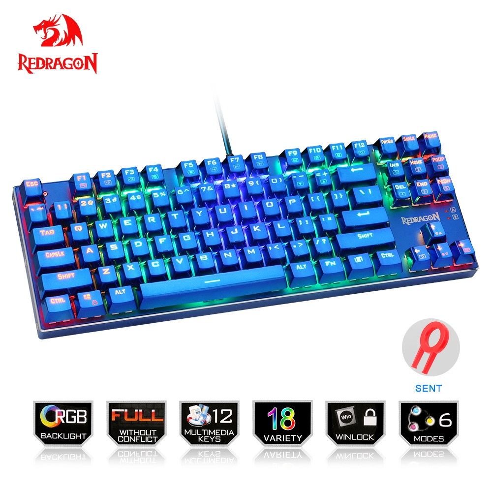 цена на Redragon USB mechanical gaming keyboard ergonomic RGB color LED backlit keys Full key anti-ghosting 87 wired PC Computer gamer