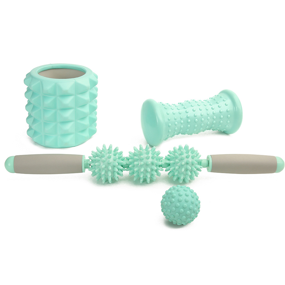 4pcs Yoga Wheel Yoga Muscle Roller Massage Stick Yoga ball Foot Massager Flat Pilates Fitness Gym Stretch Workout Accessories elite fitness massager roller stick trigger point muscle roller exercise therapy releasing tight body massage tool gym rolling