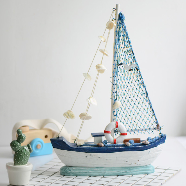 6a970ed0f5 Mediterranean Style Christmas Gifts Home Decor Miniature Boat Sailing Ship  Bar Handicraft Furnishing Articles Gifts Decor