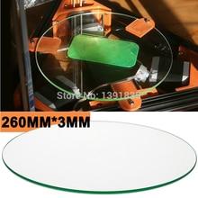 free shipping 260mm * 3mm 3d printer glass plate Borosilicate Glass plate for Rostock delta KOSSEL