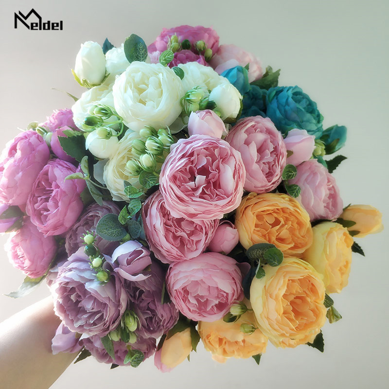 artificial flowers silk peonies bouquet  13