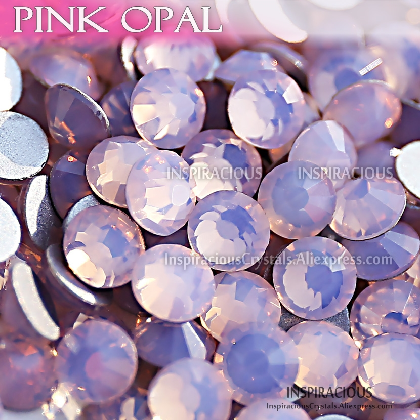 Pink Opal SS3-SS30 all sizes Rhinestones for nail designs Non Hot Fix crystals glitters strass glass stickers for manicure decor quan ss3 ss30 flat back best crystal white opal 3d nail art decorations non hot fix glue on rhinestones for nails diy