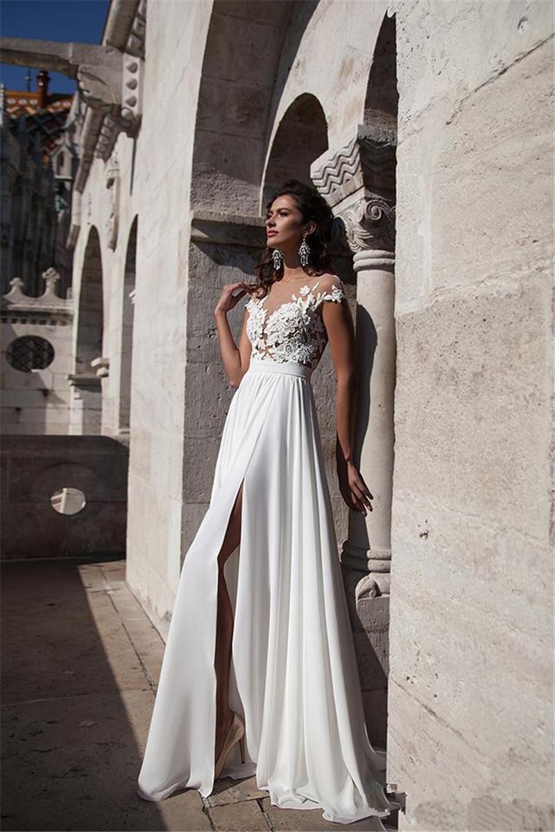 2018 White Lace Appliques Chiffon Sleeveless Wedding Dresses Bridal Gowns Custom
