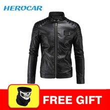 New Motorcycle Jacket PU Leather Men Vintage Motobike Faux Punk Biker Clothing Racing Suit