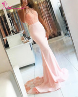 Alexzendra Rosa Halter Chiffon Longo Vestido de Noite Formal Lace Illusion Voltar Prom Vestido de Festa Vestidos