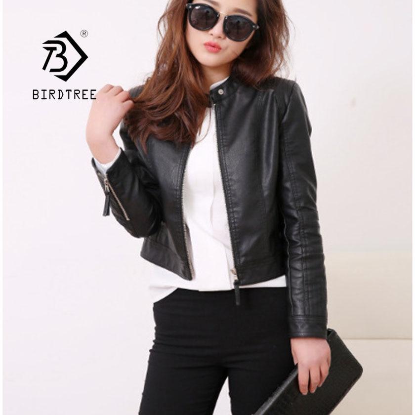 2019 Mandarin Collar Women Faux   Leather   Zippers Rivet Jacket New Fashion Motorcycle Black Outwear Women Coat Hots Sale C8D502J