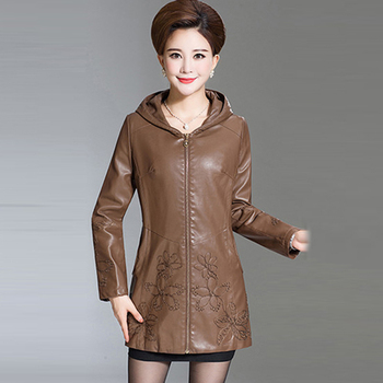 Best Winter Jackets | Best Quality Womens Winter Leather Coat Female Long Jacket Hooded Leather Clothing Plus Size 6XL Leather Embroidery Parka QH0857