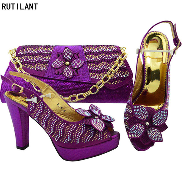 New Arrival Sapato Feminino Shoes African Shoe and Bag Set African Sets 2018 for Rhinestone Wedding Decorated with Rhinestoner 1